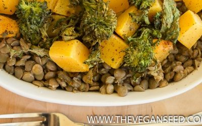 Butternut and Broccoli Rabe on Lentils