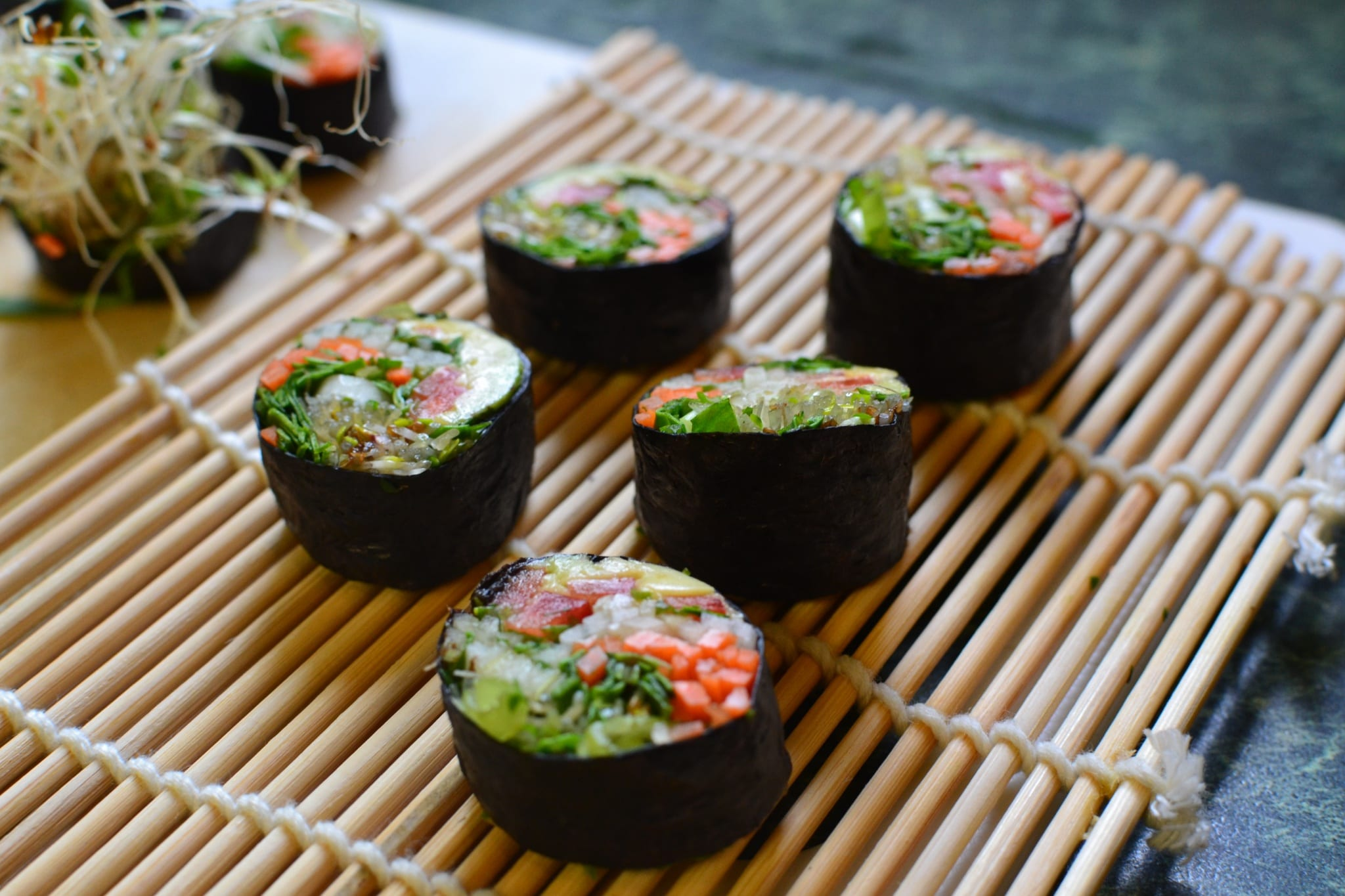 Vegan Sushi Rolls with Spicy Sweet & Sour Sauce – Raw Chef Colleen Wilson
