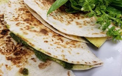Zucchini Quesadillas with Vegan Walnut Pesto