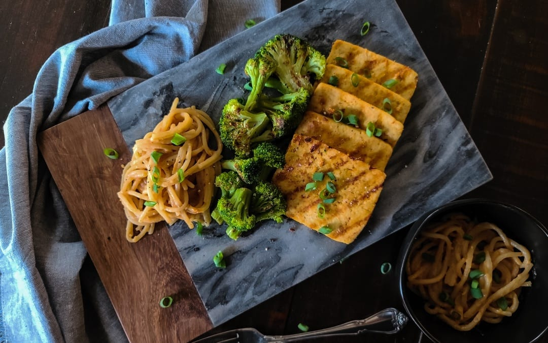 Grilled Peanut Tofu and Broccoli